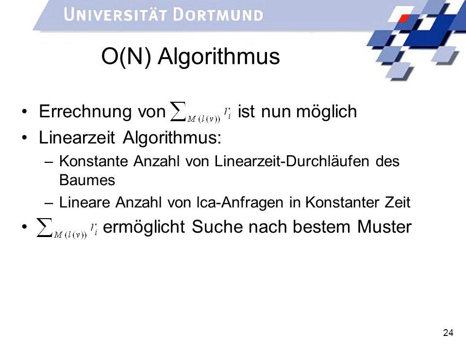 O(N) Algorithmus Errechnung von ist nun möglich