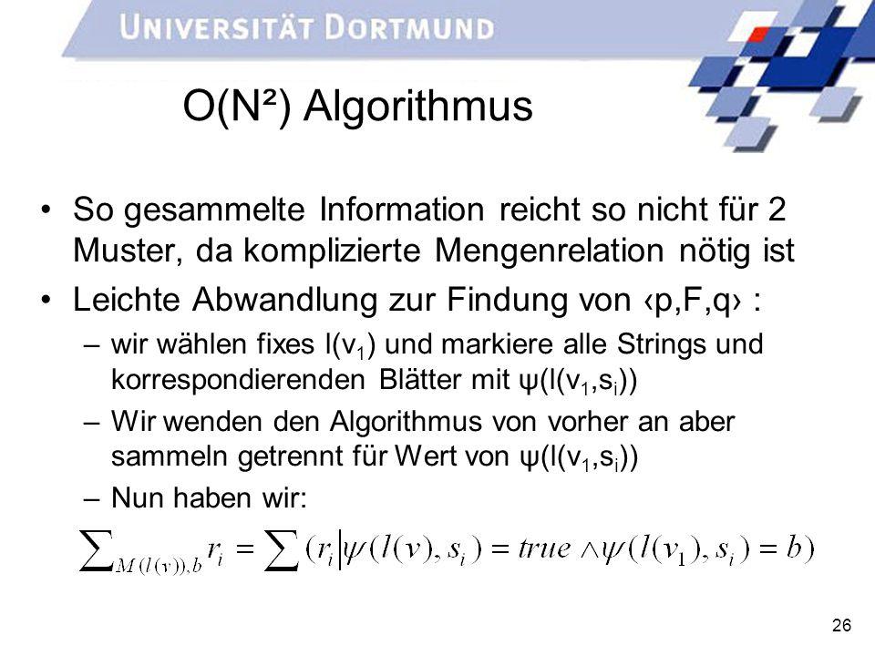 O(N²) Algorithmus So gesammelte Information reicht so nicht für 2 Muster, da komplizierte Mengenrelation nötig ist.