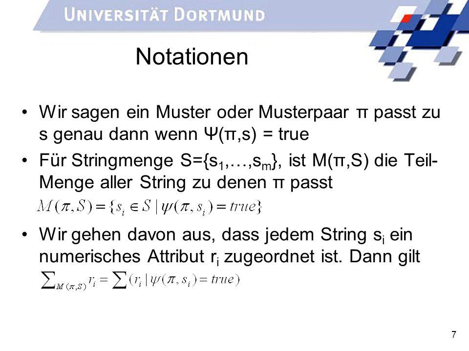 Notationen Wir sagen ein Muster oder Musterpaar π passt zu s genau dann wenn Ψ(π,s) = true.