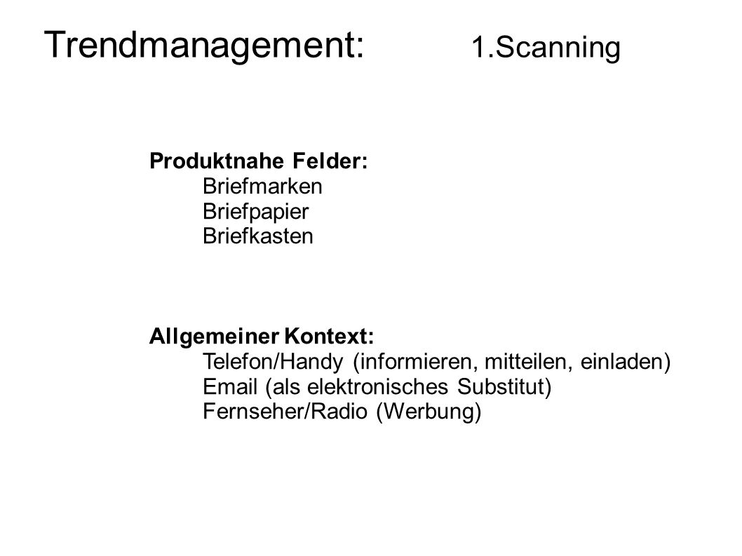 Trendmanagement: 1.Scanning