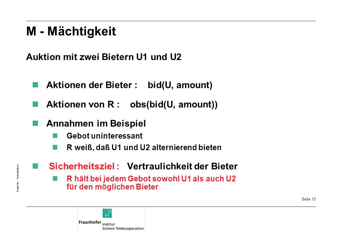 M - Mächtigkeit Auktion mit zwei Bietern U1 und U2
