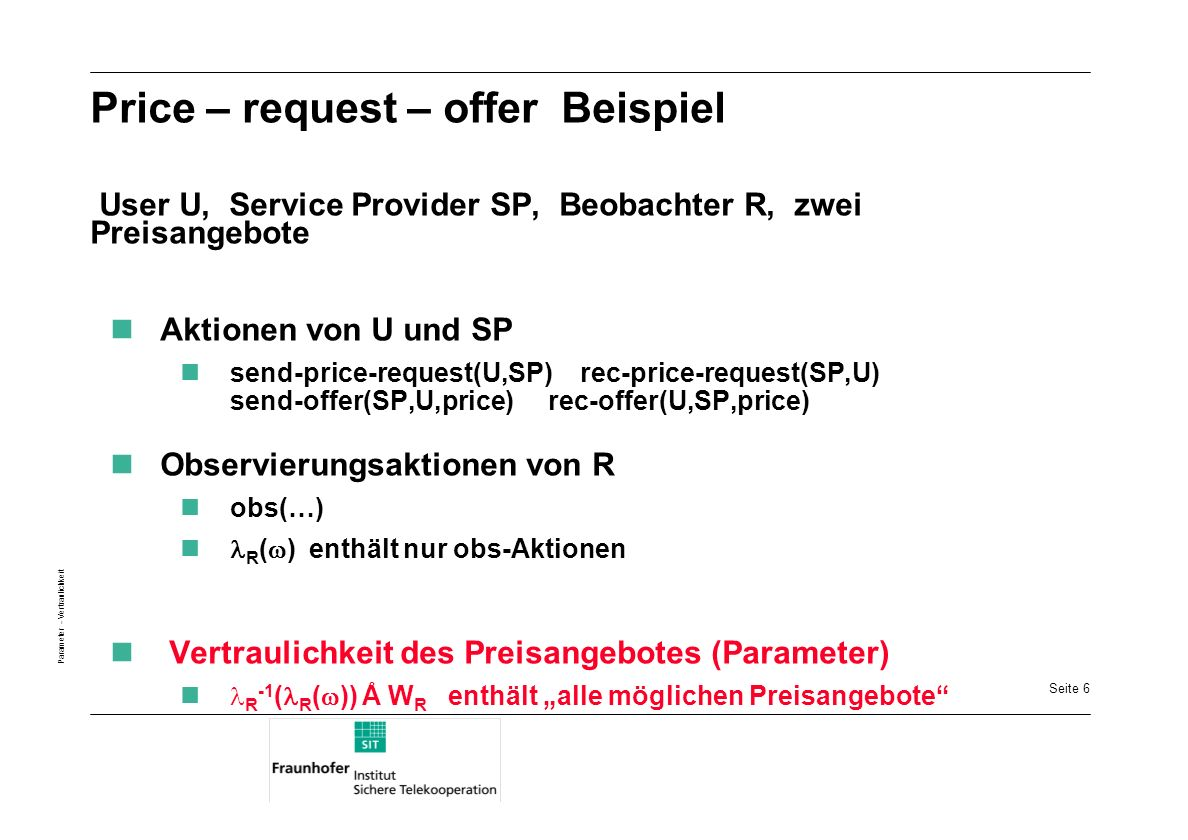 Price – request – offer Beispiel