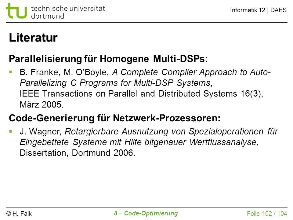 Literatur Parallelisierung für Homogene Multi-DSPs: