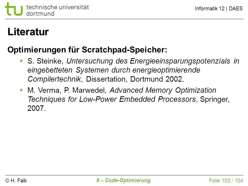 Literatur Optimierungen für Scratchpad-Speicher: