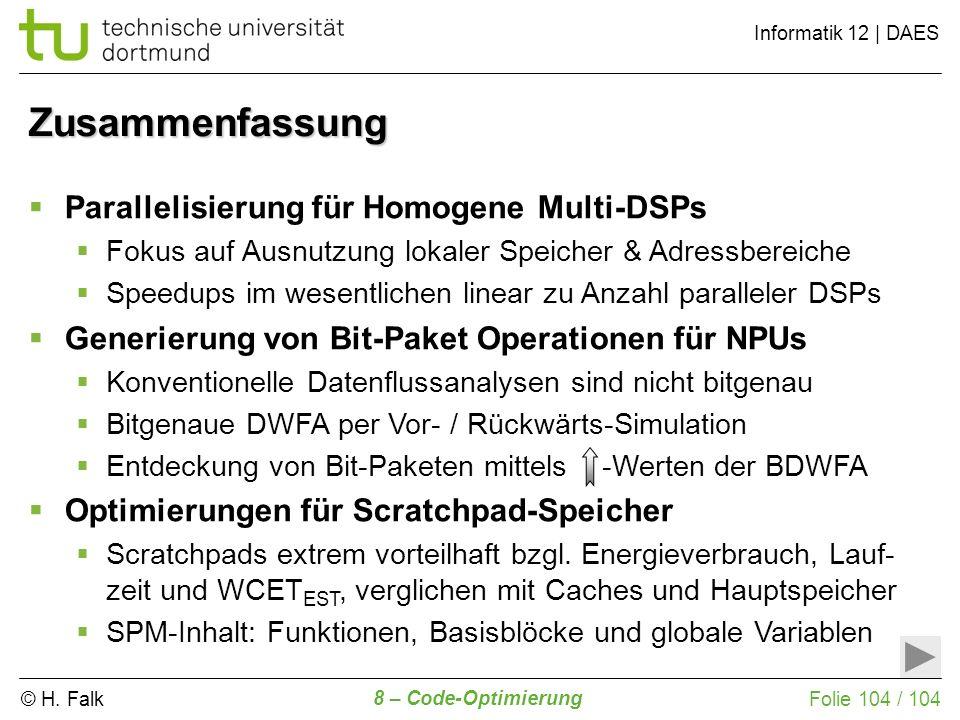 Zusammenfassung Parallelisierung für Homogene Multi-DSPs