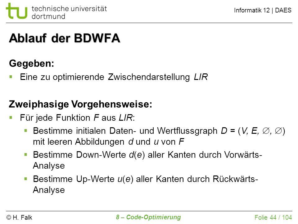 Ablauf der BDWFA Gegeben: Zweiphasige Vorgehensweise: