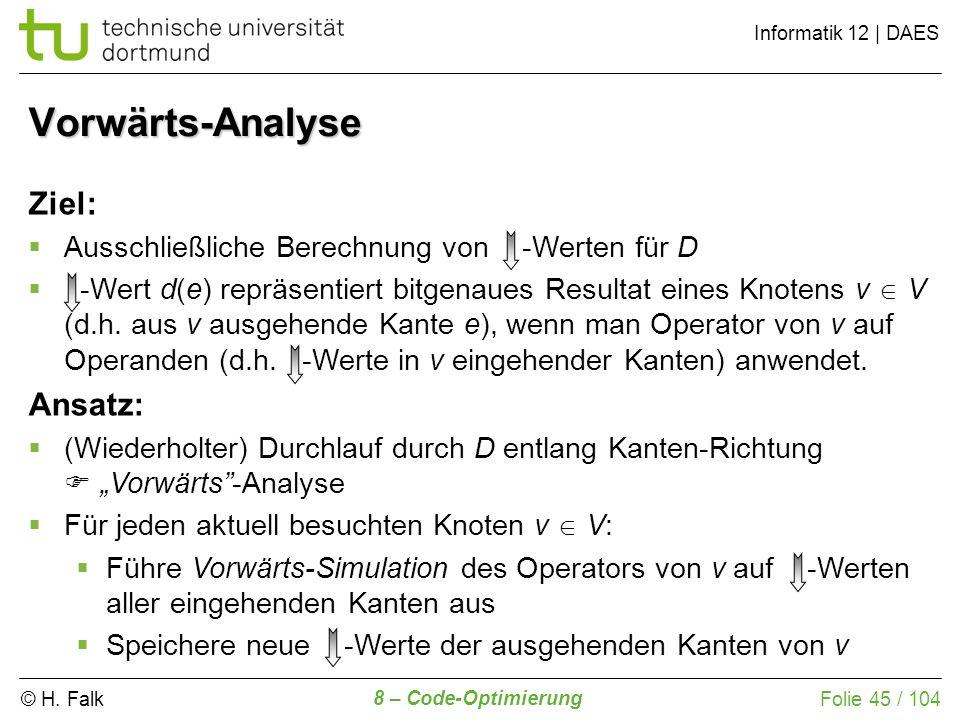 Vorwärts-Analyse Ziel: Ansatz:
