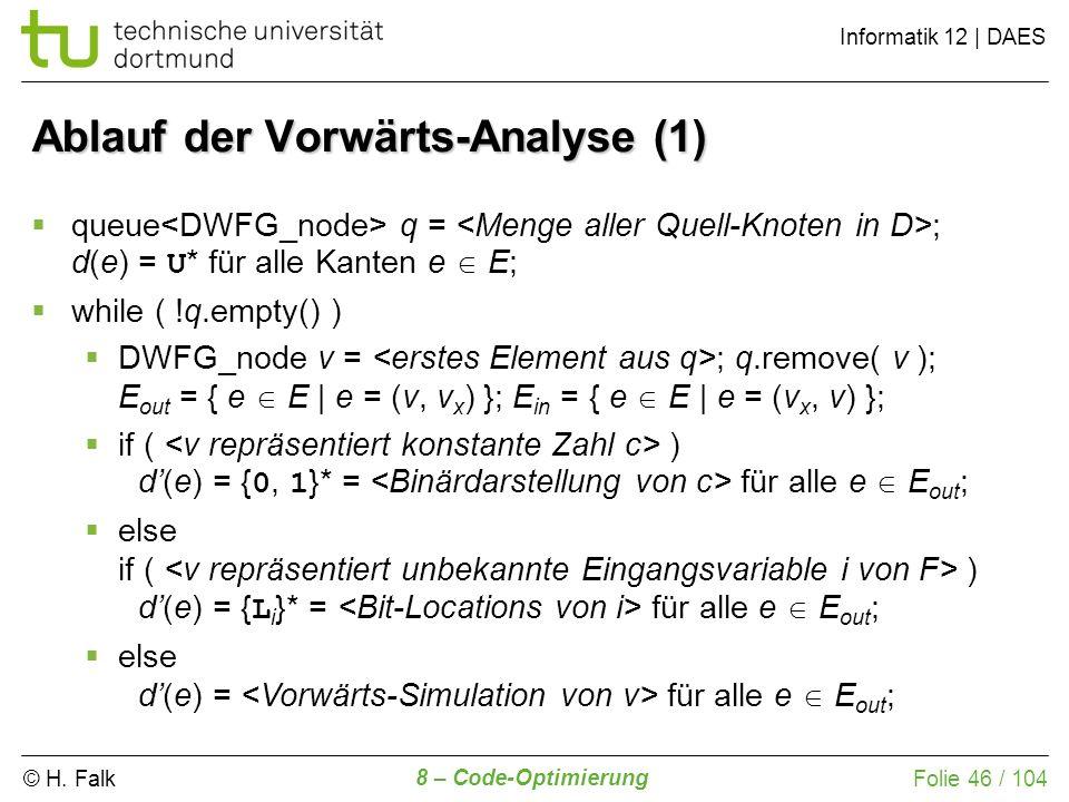 Ablauf der Vorwärts-Analyse (1)