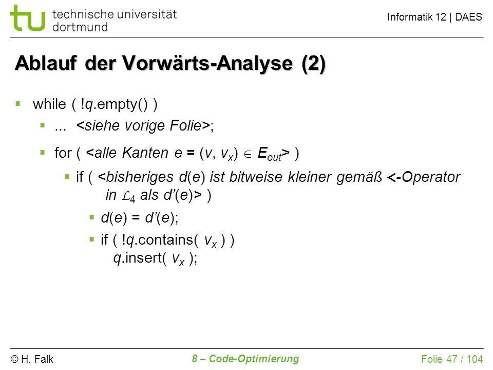 Ablauf der Vorwärts-Analyse (2)