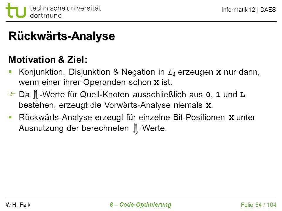 Rückwärts-Analyse Motivation & Ziel: