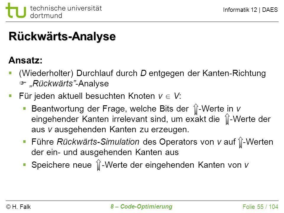 Rückwärts-Analyse Ansatz: