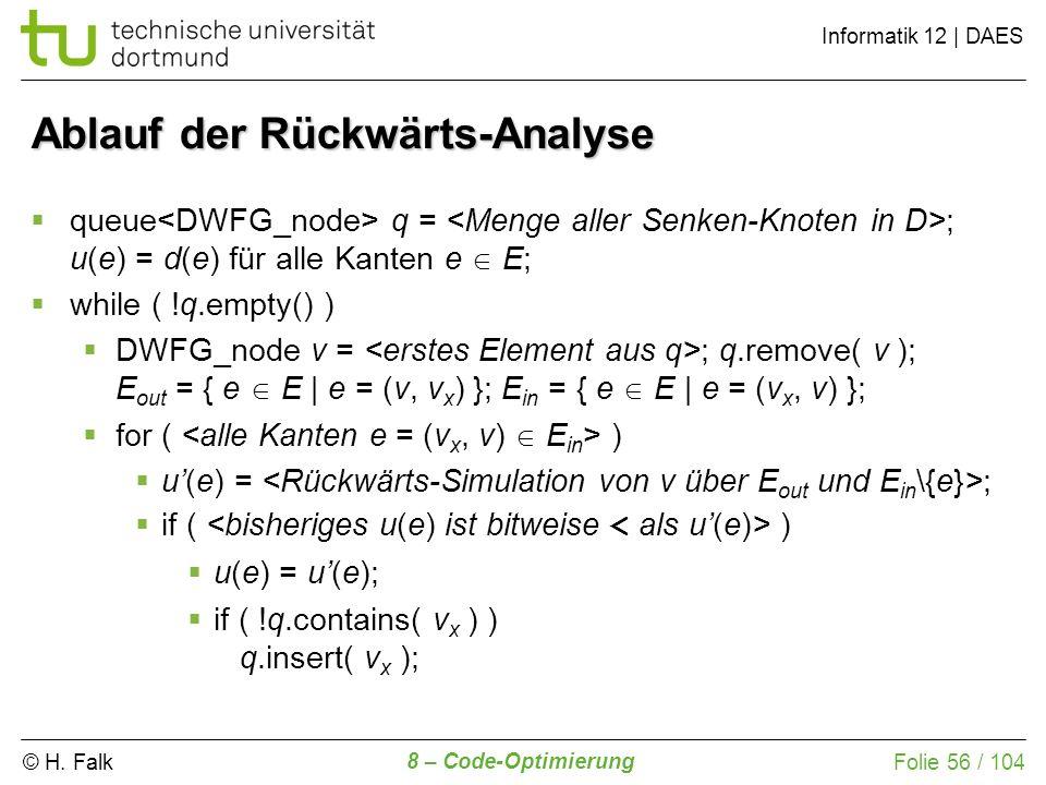Ablauf der Rückwärts-Analyse