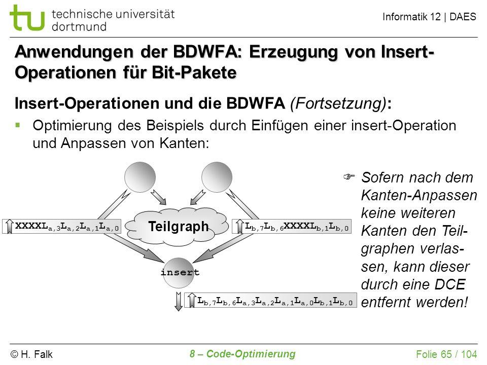 Anwendungen der BDWFA: Erzeugung von Insert-Operationen für Bit-Pakete