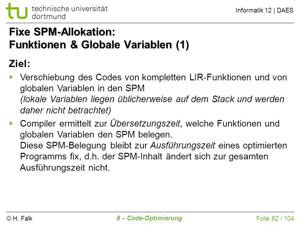 Fixe SPM-Allokation: Funktionen & Globale Variablen (1)