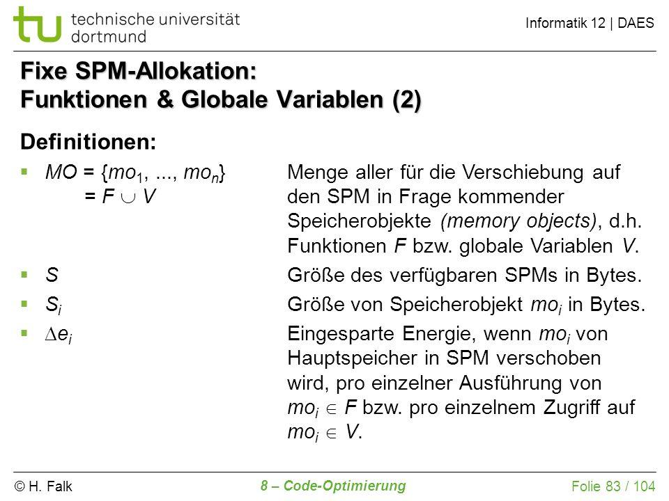 Fixe SPM-Allokation: Funktionen & Globale Variablen (2)