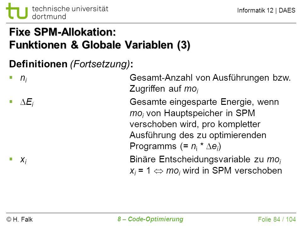 Fixe SPM-Allokation: Funktionen & Globale Variablen (3)