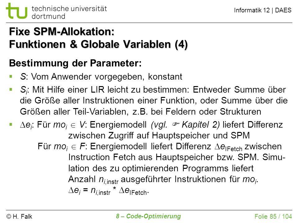 Fixe SPM-Allokation: Funktionen & Globale Variablen (4)