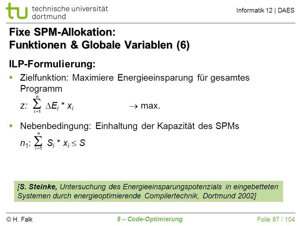 Fixe SPM-Allokation: Funktionen & Globale Variablen (6)