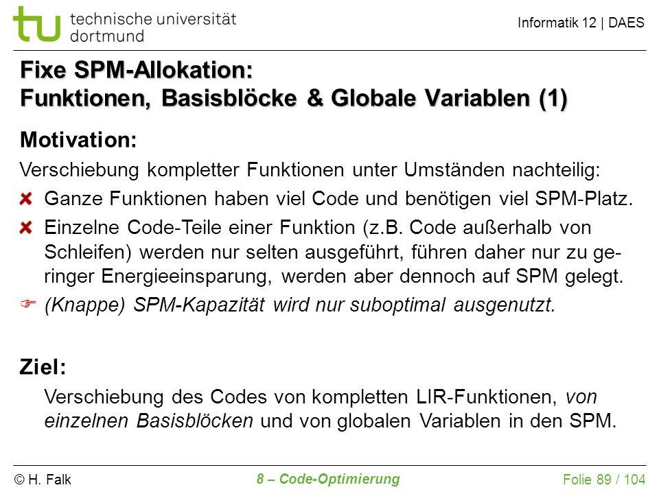 Fixe SPM-Allokation: Funktionen, Basisblöcke & Globale Variablen (1)