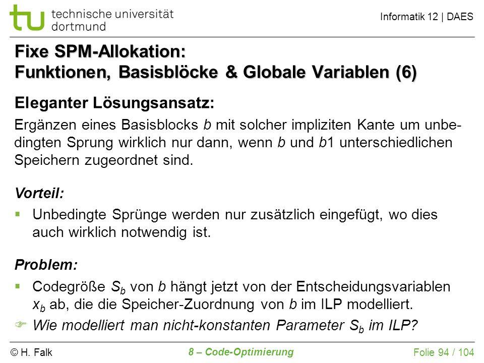 Fixe SPM-Allokation: Funktionen, Basisblöcke & Globale Variablen (6)