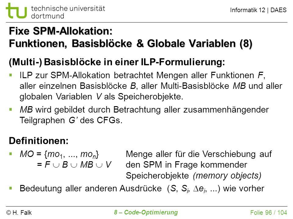 Fixe SPM-Allokation: Funktionen, Basisblöcke & Globale Variablen (8)