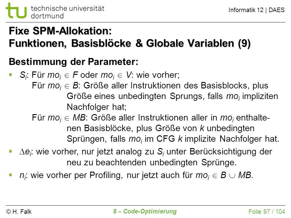 Fixe SPM-Allokation: Funktionen, Basisblöcke & Globale Variablen (9)