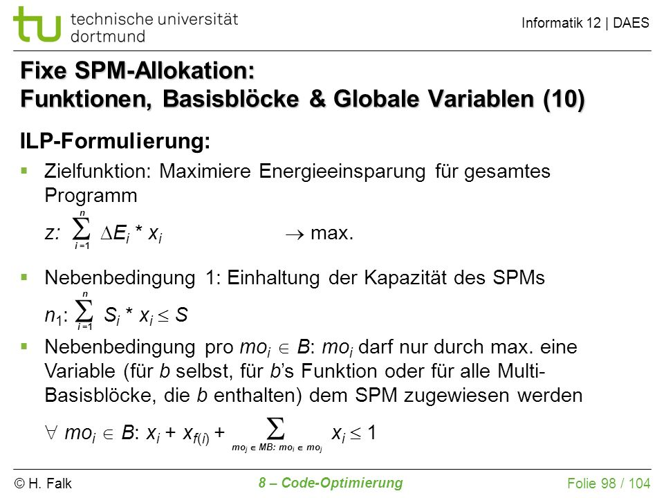 Fixe SPM-Allokation: Funktionen, Basisblöcke & Globale Variablen (10)