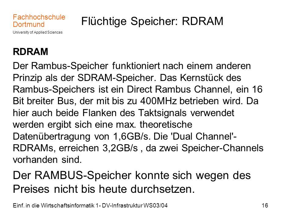 Flüchtige Speicher: RDRAM