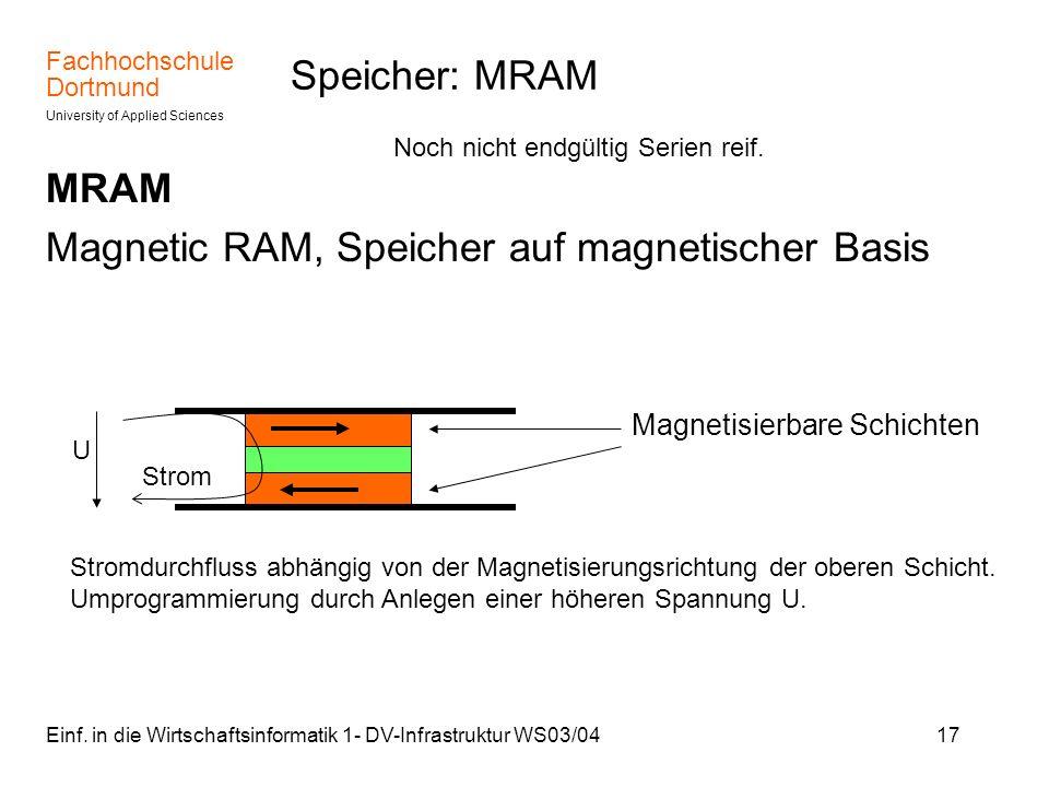 Magnetic RAM, Speicher auf magnetischer Basis