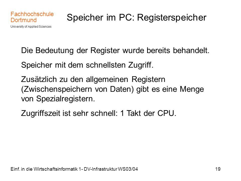 Speicher im PC: Registerspeicher