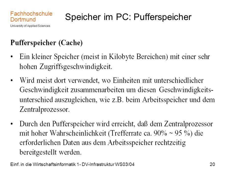 Speicher im PC: Pufferspeicher