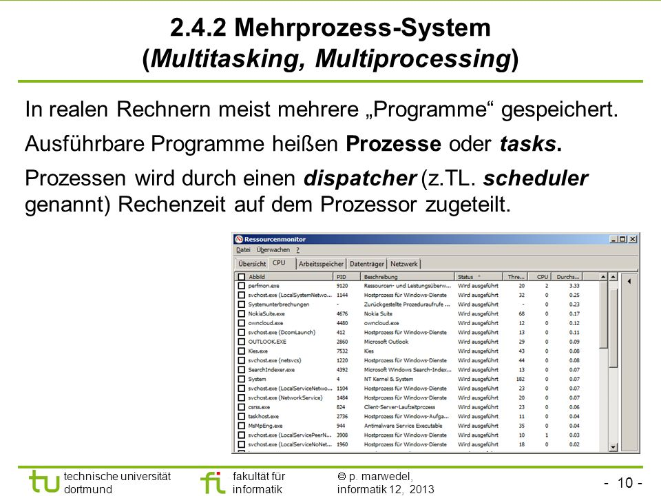 2.4.2 Mehrprozess-System (Multitasking, Multiprocessing)