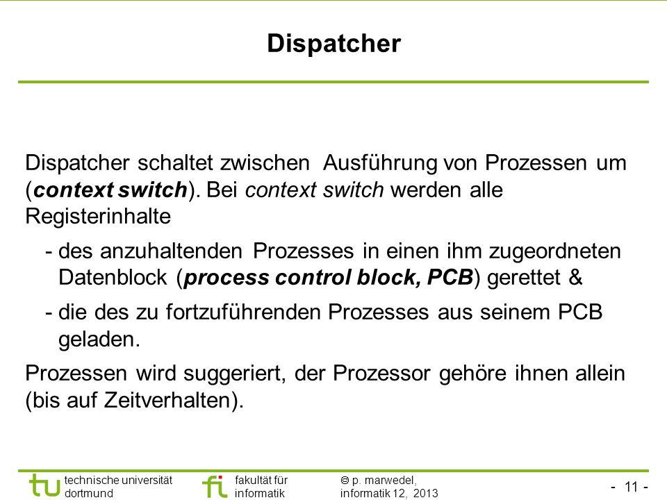 Dispatcher Dispatcher schaltet zwischen Ausführung von Prozessen um (context switch). Bei context switch werden alle Registerinhalte.