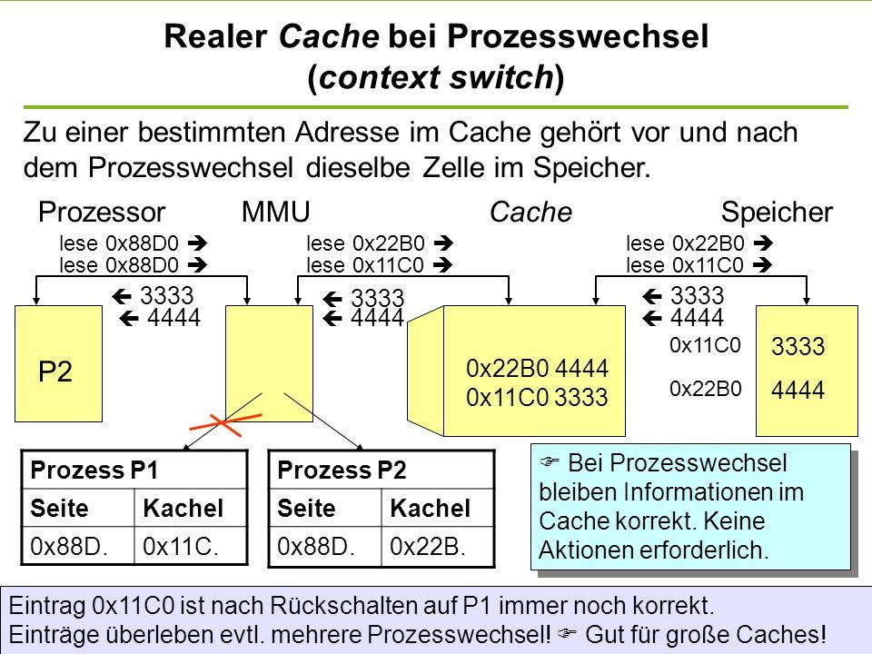 Realer Cache bei Prozesswechsel (context switch)