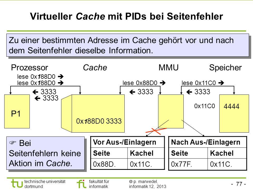 Virtueller Cache mit PIDs bei Seitenfehler