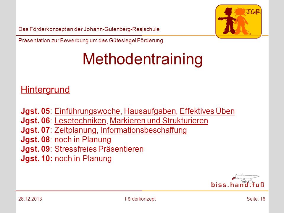 Methodentraining Hintergrund