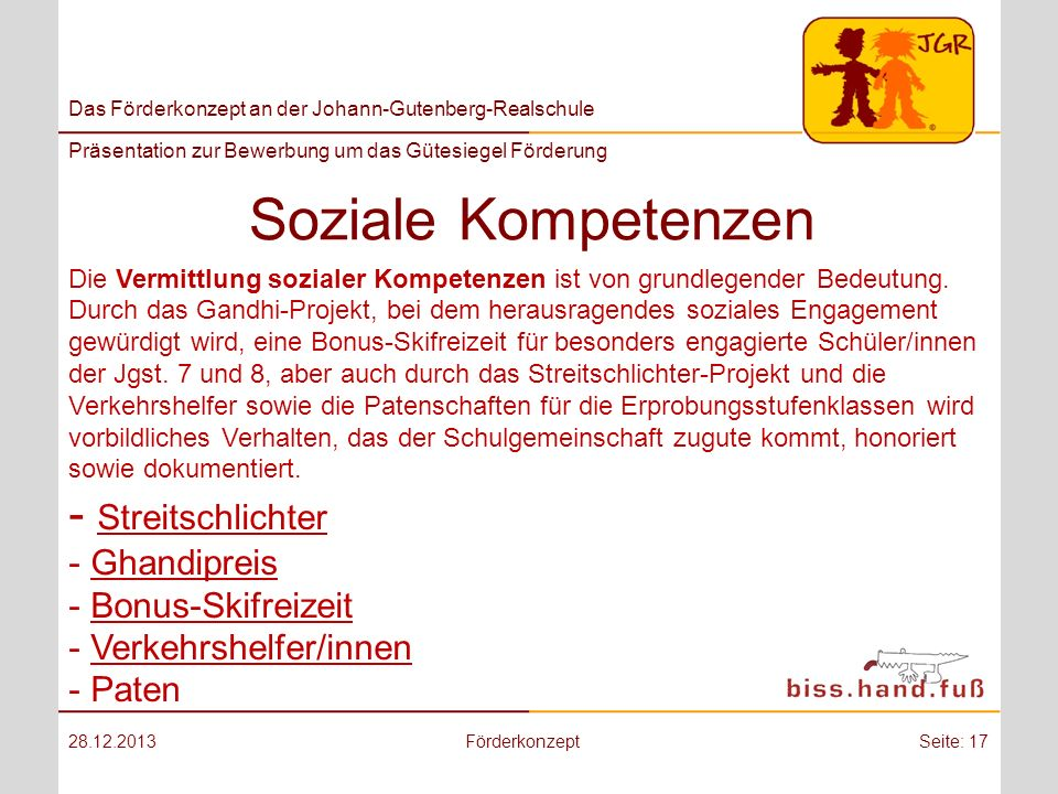 Soziale Kompetenzen - Streitschlichter Ghandipreis Bonus-Skifreizeit