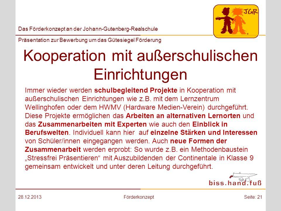 Kooperation mit außerschulischen Einrichtungen