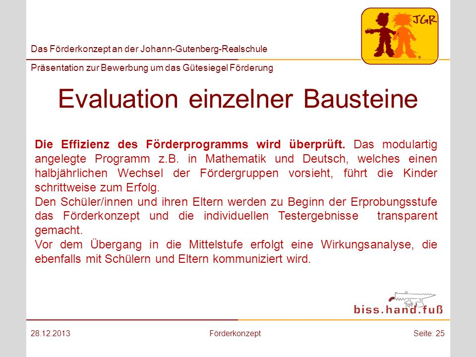 Evaluation einzelner Bausteine
