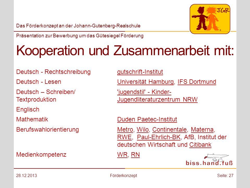 Kooperation und Zusammenarbeit mit: