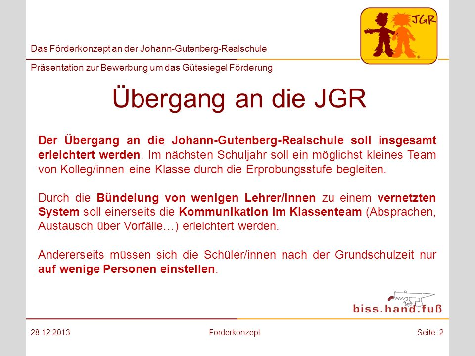 Übergang an die JGR