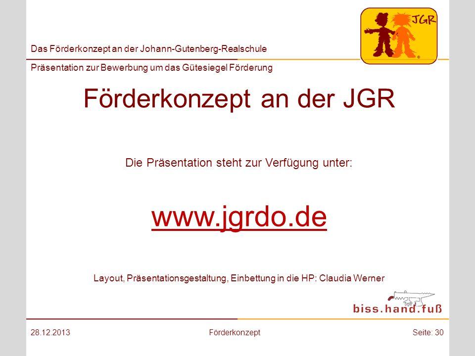 Förderkonzept an der JGR