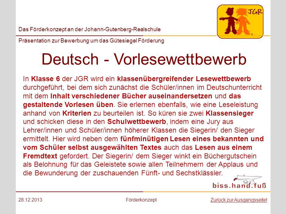 Deutsch - Vorlesewettbewerb
