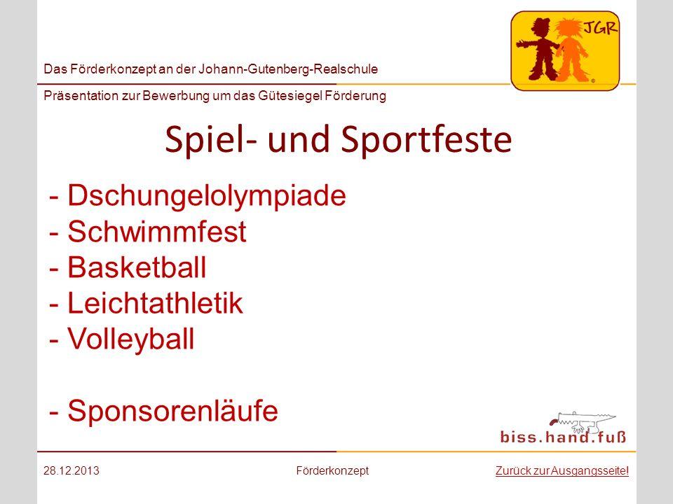 Spiel- und Sportfeste Dschungelolympiade Schwimmfest Basketball