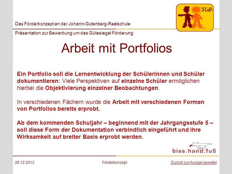 Arbeit mit Portfolios