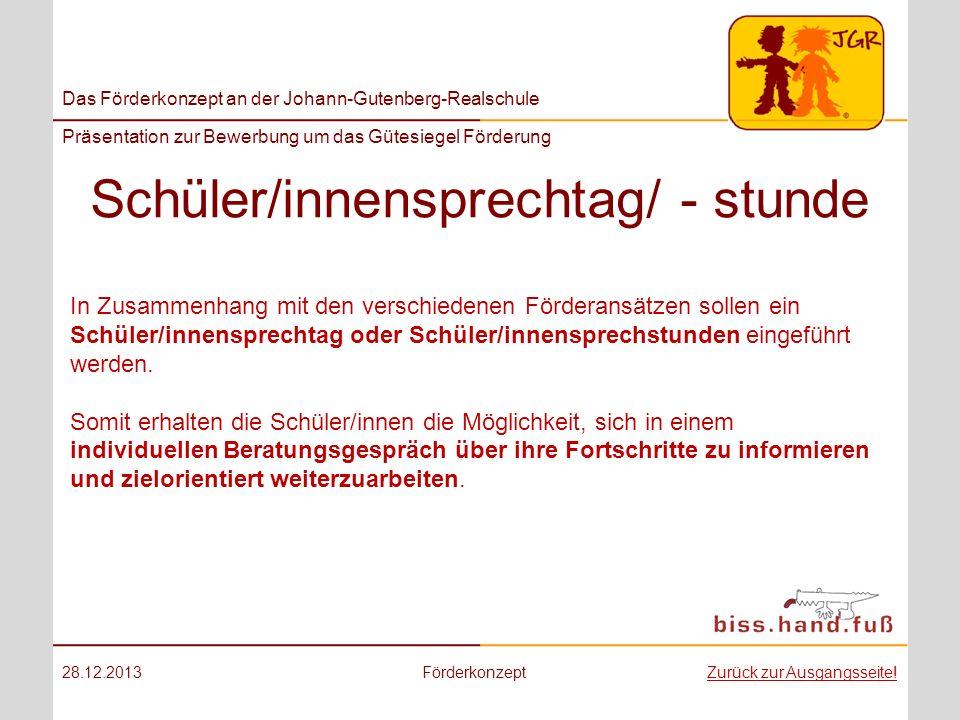 Schüler/innensprechtag/ - stunde