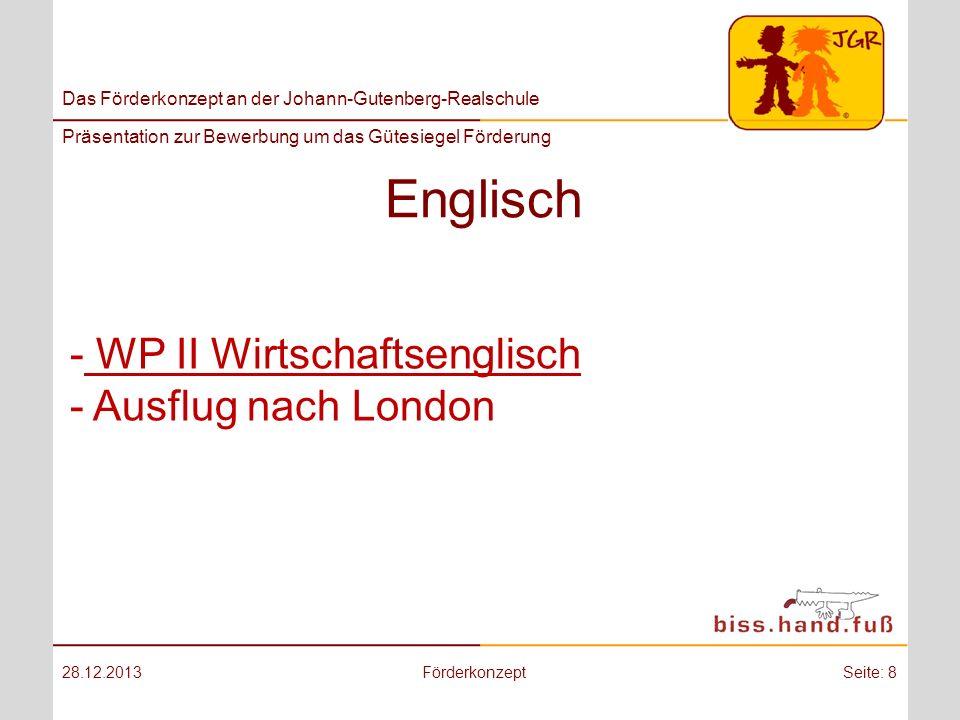 Englisch WP II Wirtschaftsenglisch Ausflug nach London 25.03.2017