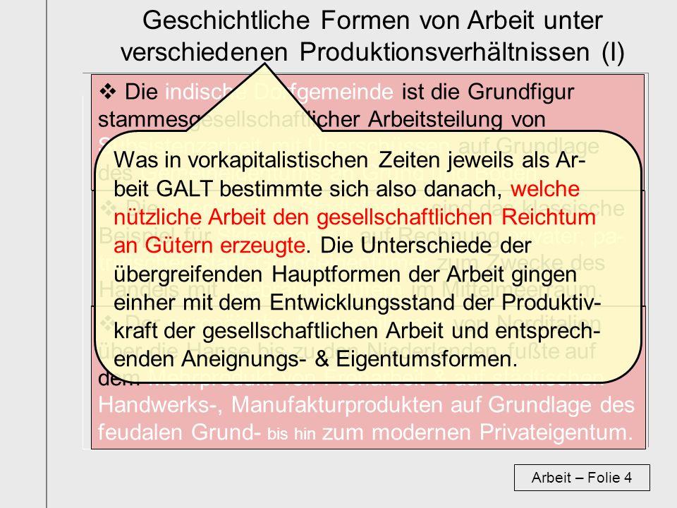 Geschichtliche Formen von Arbeit unter verschiedenen Produktionsverhältnissen (I)