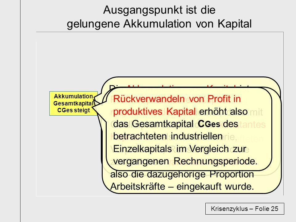 Ausgangspunkt ist die gelungene Akkumulation von Kapital
