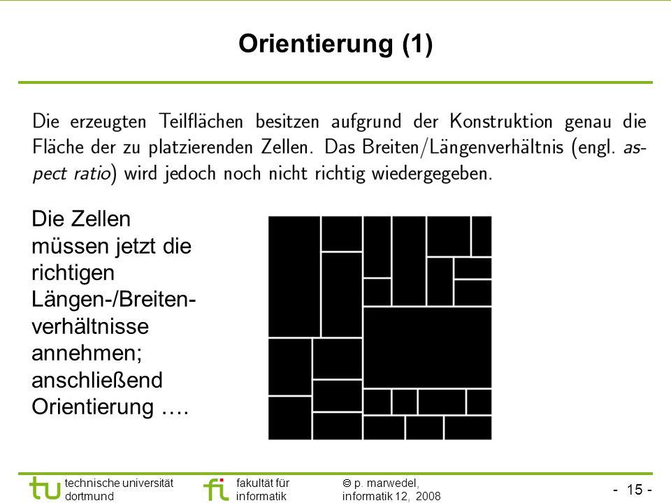 Orientierung (1) Die Zellen müssen jetzt die richtigen Längen-/Breiten-verhältnisse annehmen; anschließend Orientierung ….